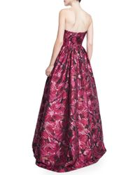 David Meister - Purple Strapless Floral Brocade Ball Gown - Lyst