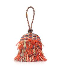 Tory Burch - Frayed Multicolor Tweed Dome Clutch - Lyst