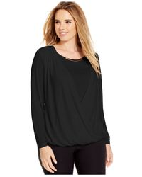 Calvin Klein | Black Plus Size Metallic-trim Crossover Top | Lyst