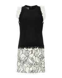 Giambattista Valli - Black Sleeveless Mini Shift Dress With Ruffled Shoulders - Lyst