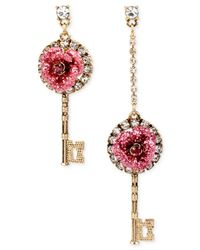 Betsey Johnson - Rose Gold-tone Pink Crystal Circle Drop Earrings - Lyst