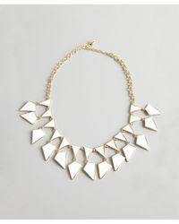 Kenneth Jay Lane | White And Gold Enamel Geometric Bib Necklace | Lyst
