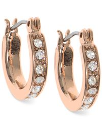 Nine West | Metallic Rose Gold-tone Pavé Hoop Earrings | Lyst