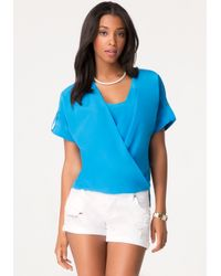Bebe | Blue Short Sleeve Wrap Top | Lyst