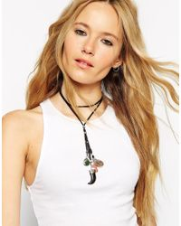ASOS | Black Multirow Cord & Found Charm Choker Lariat Necklace | Lyst