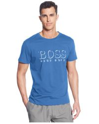 BOSS - Blue Boss Logo Crew-Neck T-Shirt for Men - Lyst