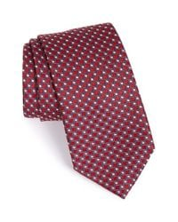 Ermenegildo Zegna - Red Geometric Silk Tie for Men - Lyst