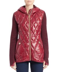 MICHAEL Michael Kors | Purple Knit-sleeve Quilted Jacket | Lyst