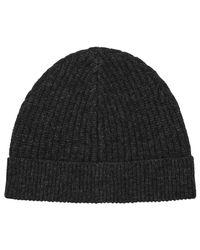 Reiss | Gray Noah Ribbed Beanie Hat for Men | Lyst