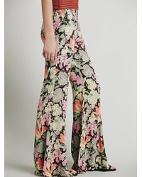 Free People - Black Lucina Floral Hippie Pant - Lyst