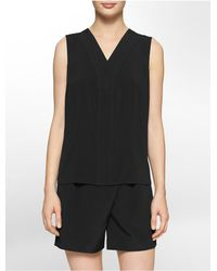 Calvin Klein | Black White Label Double Layer V-neck Sleeveless Top | Lyst