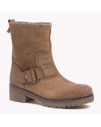 Tommy Hilfiger | Brown Suede Buckle Boot | Lyst
