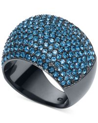 Michael Kors | Gunmetal-Tone Blue Pavé Dome Ring | Lyst