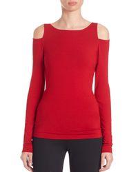 Donna Karan - Red Long-sleeve Cold Shoulder Top - Lyst
