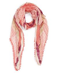 Halogen - Pink Mini Mosaic Print Oblong Scarf - Coral - Lyst