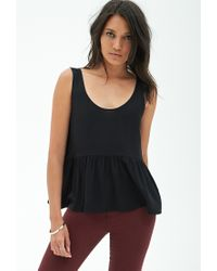 Forever 21 - Black Shirred Woven Tank - Lyst