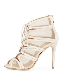 Ferragamo - Natural Lace-Up Suede and Mesh Ankle Boots - Lyst