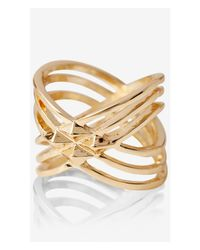 Express | Metallic Studded Crisscross Ring | Lyst