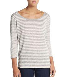 Joie | Gray Striped Linen Knit Top | Lyst