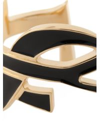Saint Laurent | Black 'monogram' Bangle | Lyst
