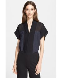 Donna Karan - Black Paper Silk Blend Blouse - Lyst