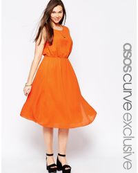 ASOS | Orange Curve Sleeveless Dress With Pleat Detail | Lyst