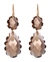Laurent Gandini | Metallic Rose Gold Smoky Quartz Double Drop Earrings | Lyst