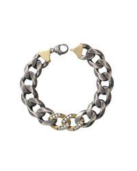 Sylva & Cie | Metallic Diamond Pave Link Bracelet | Lyst
