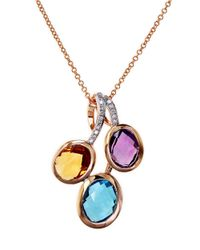 Effy | Pink Mosiac Amethyst, Diamond And 14K Rose Gold Pendant Necklace - 0.6Tcw | Lyst
