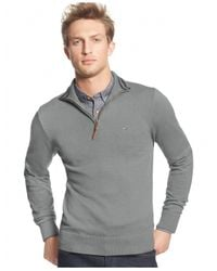 Tommy Hilfiger | Gray Signature Solid Quarter-zip Sweater for Men | Lyst
