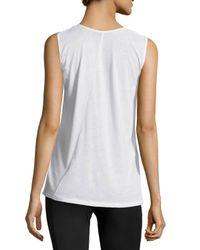 Norma Kamali - White Fingerprint Sleeveless T-shirt - Lyst