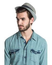BOSS Orange - Gray Straw Hat Frebb with A Narrow Brim for Men - Lyst