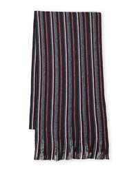 BOSS - Blue Knit Striped Scarf for Men - Lyst