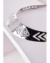 Missguided | Metallic Aztec Cut Out Collar Necklace Silver | Lyst