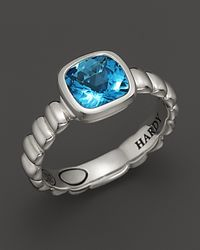 John Hardy | Metallic Bedeg Sterling Silver Batu Square Station Slim Band Ring with 7mm Swiss Blue Topaz | Lyst
