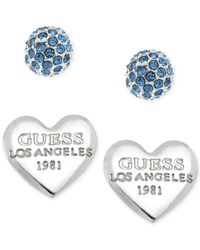 Guess | Metallic Fireball Heart Stud Earring Set | Lyst