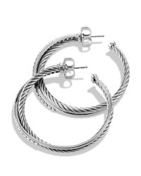 David Yurman - Metallic Crossover Extra Large Hoop Earrings With Diamonds - Lyst