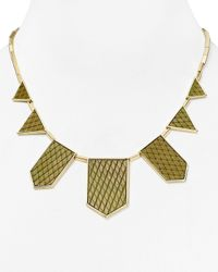 House of Harlow 1960 | Metallic 1960 Exotic Five Station Necklace, 18"