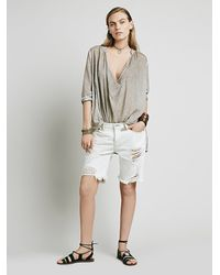 Free People - White Nsf Womens Bryant Distressed Cutoff - Lyst