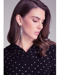 Bebe - Metallic Half Moon Hoop Earrings - Lyst