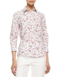 Carolina Herrera - Natural Three-quarter-sleeve Pansy-print Button Blouse - Lyst
