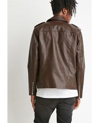 Forever 21 | Brown Faux Leather Moto Jacket for Men | Lyst