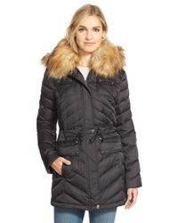 Laundry by Shelli Segal | Black Belted Down & Feather Fill Utility Parka With Faux Fur Trim | Lyst