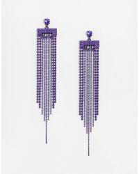 Lipsy | Purple Statement Fringe Earrings | Lyst