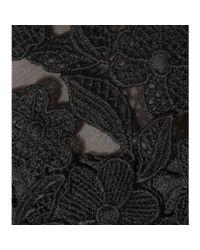 Oscar de la Renta Black Lace-trimmed Silk Dress