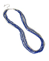 Kenneth Cole | Blue Silver-tone Bead Layered Long Necklace | Lyst