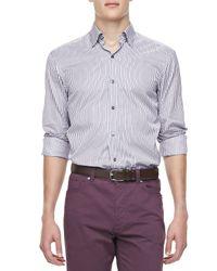 Ermenegildo Zegna   Purple Multistripe Sport Shirt for Men   Lyst
