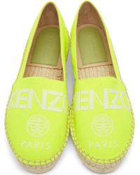 KENZO - Neon Yellow Logo Espadrilles - Lyst