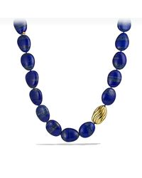 David Yurman - Blue Dy Signature Delta Bead Necklace With Lapis Lazuli And 18k Gold - Lyst