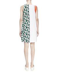 Stella McCartney - Green Floral-print Colorblock Shift Dress - Lyst